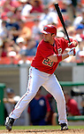 17 June 2006: Brian Schneider (left), catcher for the Washington Nationals, at bat against the New York Yankees at RFK Stadium, in Washington, DC. The Nationals overcame a seven run deficit to win 11-9 in the second game of the interleague series...Mandatory Photo Credit: Ed Wolfstein Photo...