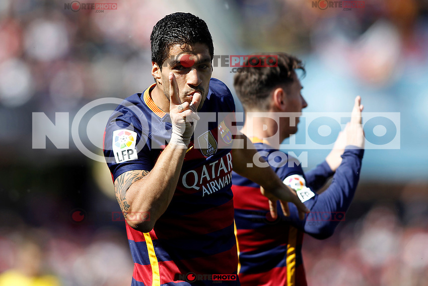FC Barcelona's Leo Messi (r) and Luis Suarez celebrate goal during La Liga match. May 14,2016. (ALTERPHOTOS/Acero) /NortePhoto.com