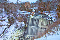 An overall view of Spencer Creek spilling over Webster's Falls in Hamilton, Ontario.