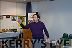 Derry Butler of Listowel reciting a poem at the Lesley Collins Writers group book launch at the County Library in Tralee on Tuesday evening last.