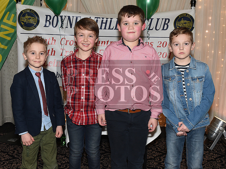 Nathan Robinson, Callum Byrne, Harry Bell and Luke Carr McLoughlin at the Boyne AC awards night in the Westcourt Hotel. Photo:Colin Bell/pressphotos.ie