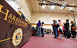 New students line up inside the gymnasium during freshman move-in day at Harris-Stowe State University in St. Louis on Wednesday August 15, 2018.    Photo by Tim Vizer