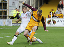 16/08/2008  Copyright Pic: James Stewart.File Name : sct_jspa22_motherwell_v_aberdeen.DAVID CLARKSON AND RICHARD FOSTER CHALLENGE FOR THE BALL.James Stewart Photo Agency 19 Carronlea Drive, Falkirk. FK2 8DN      Vat Reg No. 607 6932 25.Studio      : +44 (0)1324 611191 .Mobile      : +44 (0)7721 416997.E-mail  :  jim@jspa.co.uk.If you require further information then contact Jim Stewart on any of the numbers above........