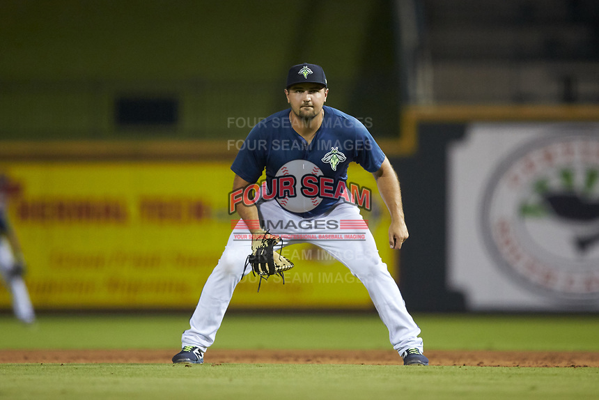 Columbia Fireflies first baseman Chase Chambers (8) on defense against the Rome Braves at Segra Park on May 13, 2019 in Columbia, South Carolina. The Fireflies defeated the Braves 6-1 in game two of a doubleheader. (Brian Westerholt/Four Seam Images)