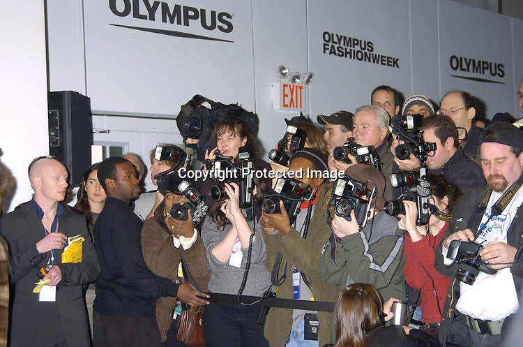 The Photographers ..at the Press Conference to kick off  the Opening of The Olympus Fashion Week as well as the first print Public Service Announcement  of the Be Seen, Be Screened campaign for the Entertainment Industry Foundation's Colorectal Cancer Research Alliance on February 4, 2005 at ..the Tents in Bryant Park. ..Photo by Robin Platzer, Twin Images