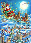 Interlitho, Dani, CHRISTMAS SANTA, SNOWMAN, paintings, santa, sleigh, village(KL5599,#X#)