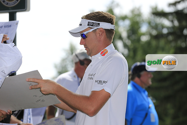 Ian Poulter (ENG) signs autographs at the 18th green during Tuesday's Practice Day of the 95th US PGA Championship 2013 held at Oak Hills Country Club, Rochester, New York.<br /> 6th August 2013.<br /> Picture: Eoin Clarke www.golffile.ie