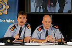 Garda Press conference in Slane Castle ahead of the Rolling Stones concert on Saturday. Left to RIght Superintendent Michael Devine, District Officer Navan, Superintendent Kevin Donohoe, Garda Press & Public Relations..Photo: Newsfile/Fran Caffrey..
