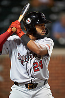 Scottsdale Scorpions Heliot Ramos (24), of the San Francisco Giants organization, on deck during an Arizona Fall League game against the Mesa Solar Sox on September 18, 2019 at Sloan Park in Mesa, Arizona. Scottsdale defeated Mesa 5-4. (Zachary Lucy/Four Seam Images)
