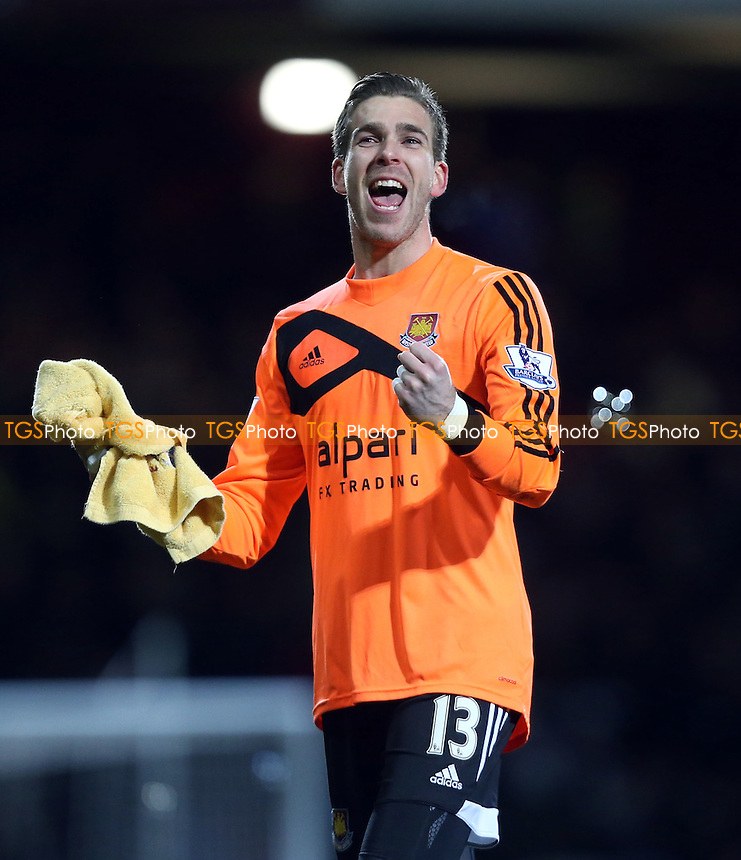 West Ham goalkeeper Adrian celebrates at the end of the game - West Ham United vs Norwich City, Barclays Premier League at Upton Park, West Ham - 11/02/14 - MANDATORY CREDIT: Rob Newell/TGSPHOTO - Self billing applies where appropriate - 0845 094 6026 - contact@tgsphoto.co.uk - NO UNPAID USE