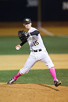 Wake Forest Demon Deacons starting pitcher Jack Fischer (15) in action against the Duke Blue Devils at Wake Forest Baseball Park on April 25, 2014 in Winston-Salem, North Carolina.  The Blue Devils defeated the Demon Deacons 5-2.  (Brian Westerholt/Four Seam Images)