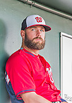 10 March 2015: Washington Nationals fielder Kevin Frandsen sits in the dugout prior to a Spring Training game against the Miami Marlins at Roger Dean Stadium in Jupiter, Florida. The Marlins edged out the Nationals 2-1 on a walk-off solo home run in the 9th inning of Grapefruit League play. Mandatory Credit: Ed Wolfstein Photo *** RAW (NEF) Image File Available ***