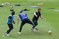 Kent's Joe Denly skips past a challenge in the pre-match football warm up during Surrey CCC vs Kent CCC, Specsavers County Championship Division 1 Cricket at the Kia Oval on 7th July 2019