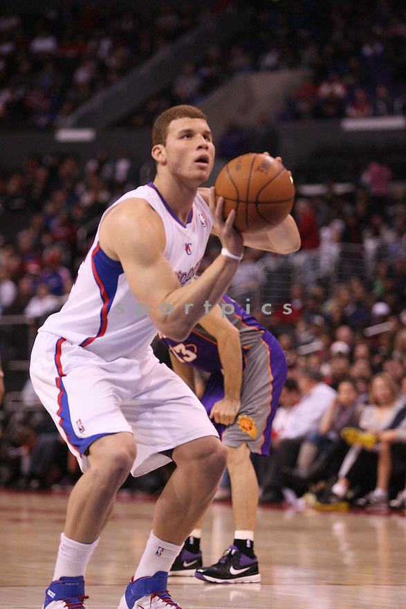 BLAKE GRIFFIN, of the Los Angeles Clippers in actions during the Clippers game against the Phoenix Suns at Staples Center on March 20, 2011.  The Phoenix Suns won the game beating the Los Angeles Clippers 108-99.