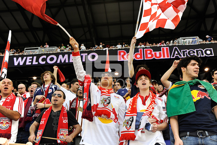 Fans cheer prior to the start of a friendly between Sanots FC and the New York Red Bulls at Red Bull Arena in Harrison, NJ, on March 20, 2010. The Red Bulls defeated Santos FC 3-1.