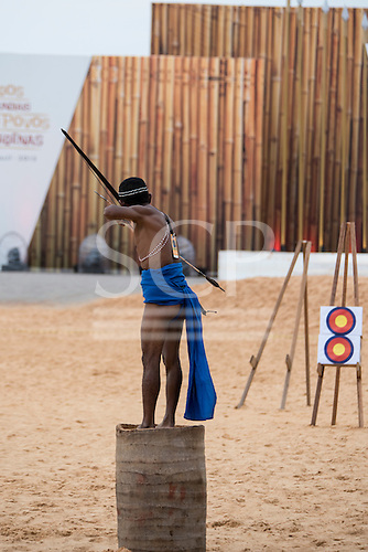 A Phillippino archer demonstrates his technique during the International Indigenous Games, in the city of Palmas, Tocantins State, Brazil. Photo © Sue Cunningham, pictures@scphotographic.com 28th October 2015