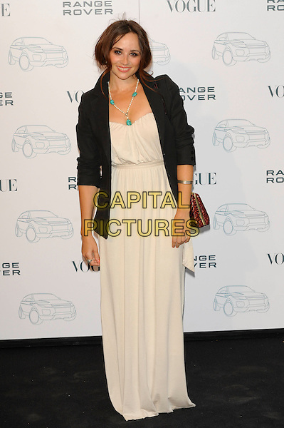 EMMA PIERSON.Attends the Range Rover 40th Anniversary Party in association with Vogue at the Orangery, Kensington Palace, London, England, UK..July 1st 2010.full length black blazer jacket hand on hip cream beige nude dress strapless necklace turquoise pearls pearl maxi .CAP/CJ.©Chris Joseph/Capital Pictures.