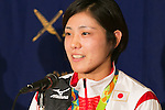 Haruka Tachimoto, Judo gold medalist in Rio Olympic, speaks during a news conference at the Foreign Correspondents' Club of Japan on August 30, 2016, Tokyo, Japan. The three gold medalist judokas spoke about the Rio 2016 Olympic Games, where Japan captured a record 12 medals in this discipline, and their hopes and plans for Tokyo 2020. (Photo by Rodrigo Reyes Marin/AFLO)