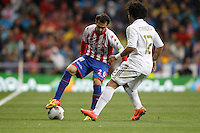 14.04.2012 SPAIN -  La Liga matchday 34th  match played between Real Madrid CF vs Real Sporting de Gijon (3-1) at Santiago Bernabeu stadium. The picture show Miguel Angel de las Cuevas Barbera and  Marcelo Vieira (Brazilian defender of Real Madrid)