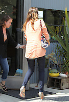 Peachy: Jessica Alba wore a summerly blazer combined with a floral print bag and skinny jeans while arriving at an office in Culver City. Los Angeles, California on 2.8.2012..Credit: Vida/face to face /MediaPunch Inc. ***FOR USA ONLY*** ***Online Only for USA Weekly Print Magazines*** /NortePhoto.com<br />