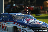 Sep 3, 2016; Clermont, IN, USA; NHRA pro stock driver Allen Johnson during qualifying for the US Nationals at Lucas Oil Raceway. Mandatory Credit: Mark J. Rebilas-USA TODAY Sports
