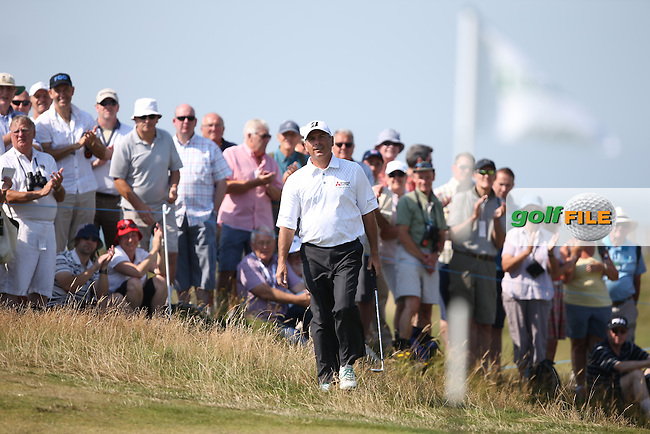 Fred Couples (USA) with mixed fortunes during Round One of the 2014 Senior Open Championship presented by Rolex from Royal Porthcawl Golf Club, Porthcawl, Wales. Picture:  David Lloyd / www.golffile.ie