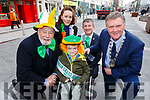 Junior Grand Marshall Ryan Bailey Kelliher and the senior Grand Marshall Anthony O&rsquo;Gara launch the St Patricks Day Parade in the Mall on Tuesday. <br /> Kneeling front: Johnny Wall, Ryan Bailey Kelliher and Cllr Graham Spring (Mayor of Tralee).<br /> Back: Janene Bailey Kelliher and Anthony O&rsquo;Gara.