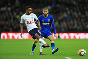 7th January 2018, Wembley Stadium, London, England;  FA Cup football, 3rd round, Tottenham Hotspur versus AFC Wimbledon; Kyle Walker-Peters of Tottenham Hotspur is under pressure from George Francomb of AFC Wimbledon