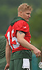 Josh McCown #15, New York Jets quarterback, cools down during a break in the first day of offseason training activity at the Atlantic Health Jets Training Center in Florham Park, NJ on Tuesday, May 23, 2017.