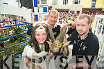 "Queen of Puck Kathlynn Coffey pictured with ""Oisin"" the goat and goat catchers Frank and Francis Joy after his coronation at Puck Fair, Killorglin on Tuesday evening."