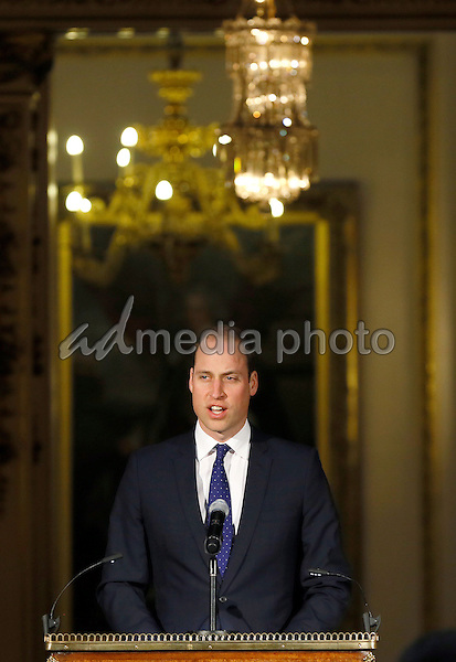15 March 2016 - London, England - Prince William, The Duke of Cambridge, gives a speech to global transport leaders at Buckingham Palace in London. The Duke of Cambridge, President of United for Wildlife, unveiled an ambitious, transport industry-led declaration developed by the transport sector to crack down on illegal wildlife trafficking routes. Photo Credit: Alpha Press/AdMedia
