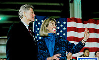 November, 1992<br /> Governor William Clinton and Hillary at campaign stop Credit: Mark Reinstein/MediaPunch