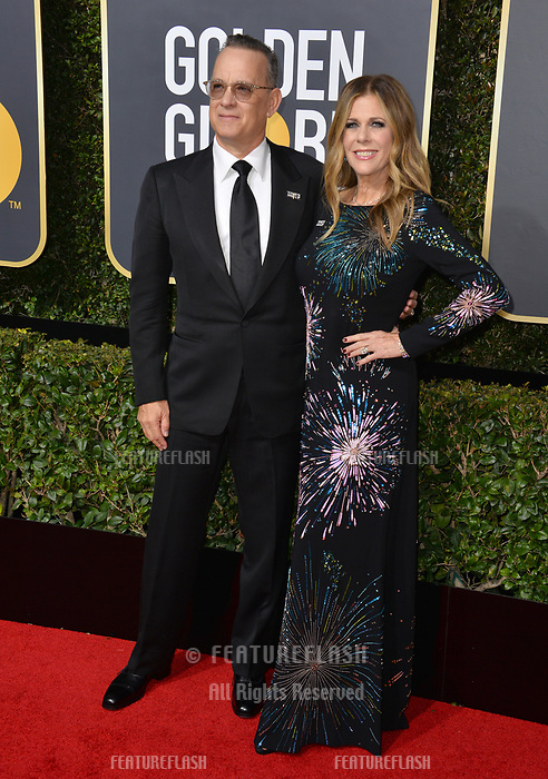 Tom Hanks &amp; Rita Wilson at the 75th Annual Golden Globe Awards at the Beverly Hilton Hotel, Beverly Hills, USA 07 Jan. 2018<br /> Picture: Paul Smith/Featureflash/SilverHub 0208 004 5359 sales@silverhubmedia.com