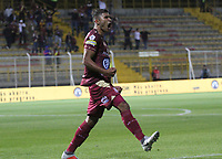 BOGOTÁ - COLOMBIA, 04-02-2019:Larry Vasquez  jugador del Deportes Tolima celebra después de anotar un gol al Rionegro durante partido por la fecha 3 de la Liga Águila I 2019 jugado en el estadio Metropolitano de Techo de la ciudad de Bogotá. /Larry Vasquez player of Deportes Tolima celebrates after scoring the goal agaisnt of  Rionegro during the match for the date 3 of the Liga Aguila I 2019 played at the Metroplitano de Techo  stadium in Bogota city. Photo: VizzorImage / Felipe Caicedo / Staff.