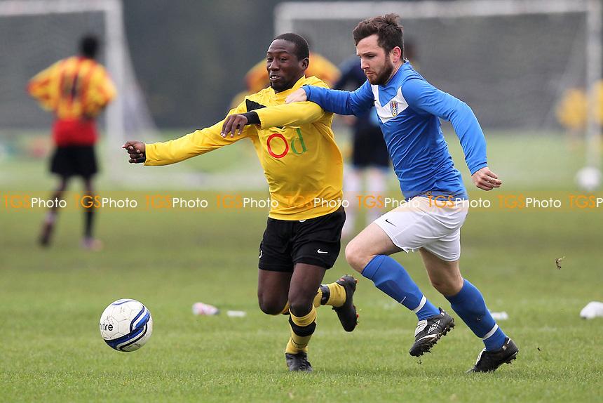 Clapton Rangers (yellow/black) vs FC Bartlett - Hackney & Leyton Sunday League Football at South Marsh, Hackney Marshes, London - 21/10/12 - MANDATORY CREDIT: Gavin Ellis/TGSPHOTO - Self billing applies where appropriate - 0845 094 6026 - contact@tgsphoto.co.uk - NO UNPAID USE.