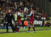 28th December 2019; London Stadium, London, England; English Premier League Football, West Ham United versus Leicester City; Sebastien Haller of West Ham United is substituted off for Michail Antonio of West Ham United - Strictly Editorial Use Only. No use with unauthorized audio, video, data, fixture lists, club/league logos or 'live' services. Online in-match use limited to 120 images, no video emulation. No use in betting, games or single club/league/player publications