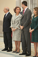 King Felipe VI of Spain, Queen Letizia of Spain and Queen Sofia of Spain attend the 2013 Sports National Awards ceremony at El Pardo palace in Madrid, Spain. December 03, 2014. (ALTERPHOTOS/Victor Blanco)