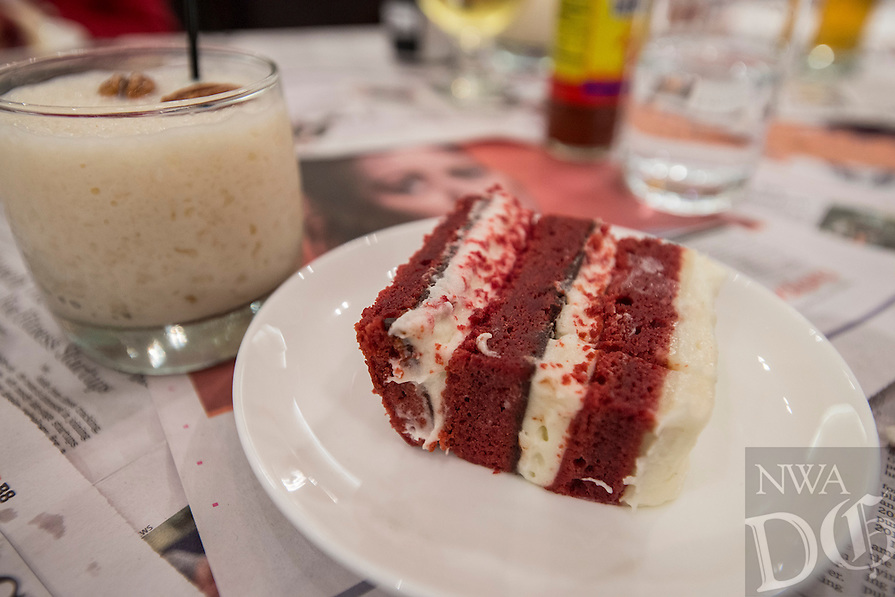 NWA Democrat-Gazette/ANTHONY REYES &bull; @NWATONYR<br /> Red Velvet Cake with chream cheese icing, white and dark chocolate with a Kentucky milkshake at a crawfish boil Wednesday, April 15, 2015 at The Hive, inside the 21C hotel in Bentonville. Many boils happen this time of year. The Hive's boil featured a four course meal with crawfish flown in fresh from the gulf coast. Chef Matt McClure created each dish.