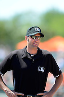 Umpire Travis Carlson during a spring training game between the Baltimore Orioles and New York Mets at Ed Smith Stadium on March 30, 2013 in Sarasota, Florida.  (Mike Janes/Four Seam Images)