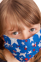 Young Girl  with fun medical mask with american desing