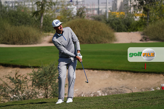 Adrian Meronk (POL) on the 1st during the Pro-Am of the Commercial Bank Qatar Masters 2020 at the Education City Golf Club, Doha, Qatar . 04/03/2020<br /> Picture: Golffile | Thos Caffrey<br /> <br /> <br /> All photo usage must carry mandatory copyright credit (© Golffile | Thos Caffrey)