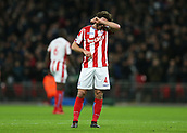 9th December 2017, Wembley Stadium, London England; EPL Premier League football, Tottenham Hotspur versus Stoke City; Joe Allen of Stoke City reacting in disappointment after Christian Eriksen of Tottenham Hotspur scored his sides 5th goal in the 74th minute to make it 5-0