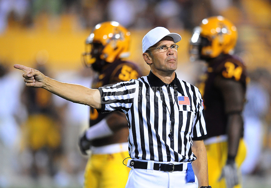 Sept. 11, 2010; Tempe, AZ, USA; NCAA referee Jay Stricherz during the game between the Northern Arizona Lumberjacks against the Arizona State Sun Devils at Sun Devil Stadium. Arizona State defeated Northern Arizona 41-20. Mandatory Credit: Mark J. Rebilas-