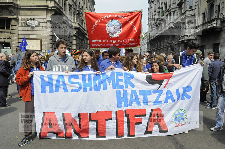 - Milano, manifestazione del 25 aprile, anniversario della Liberazione, sfilano la Brigata ed altre organizzzazioni Ebraiche<br />
