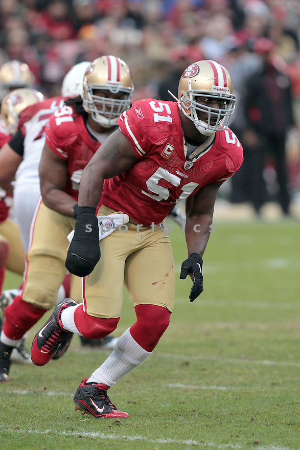 TAKEO SPIKES, of the San Francisco 49ers in action durIng the 49ers game against the Arizona Cardinals at Candlestick Park on January 2, 2011 in San Francisco, California.. .49ers beat the Cardinals 38-7