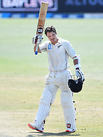 24th November 2019; Mt Maunganui, New Zealand;  BJ Watling celebrates his double century during play on day 4 of the 1st international cricket test match, New Zealand versus England at Bay Oval, Mt Maunganui, New Zealand.  - Editorial Use