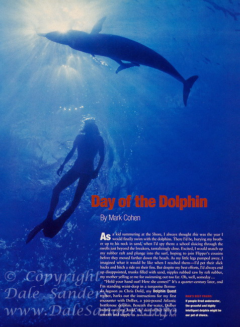 """Day of the Dolphin"" magazine article featuring image of a snorkeler with several Spotted Dolphin. Philadelphia Magazine 1998"