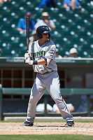 Dustin Peterson (28) of the Gwinnett Stripers at bat against the Charlotte Knights at BB&T BallPark on May 2, 2018 in Charlotte, North Carolina.  The Knights defeated the Stripers 6-5.  (Brian Westerholt/Four Seam Images)