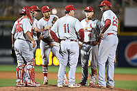 Palm Beach Cardinals manager Dann Bilardello (11) makes a pitching change as catcher Jesus Montero (55), third baseman Ildemaro Vargas (18), shortstop Alex Mejia (7), second baseman Jacob Wilson (4), first baseman David Washington (26) listen during a game against the Bradenton Marauders on April 8, 2014 at McKechnie Field in Bradenton, Florida.  Bradenton defeated Palm Beach 4-3.  (Mike Janes/Four Seam Images)