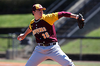 March 7, 2010:  Pitcher Jake Sabol (38) of the Central Michigan Chippewas during game at Jay Bergman Field in Orlando, FL.  Central Michigan defeated Central Florida by the score of 7-4.  Photo By Mike Janes/Four Seam Images